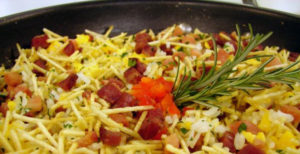 Arroz Com Bacon e Batata Palha